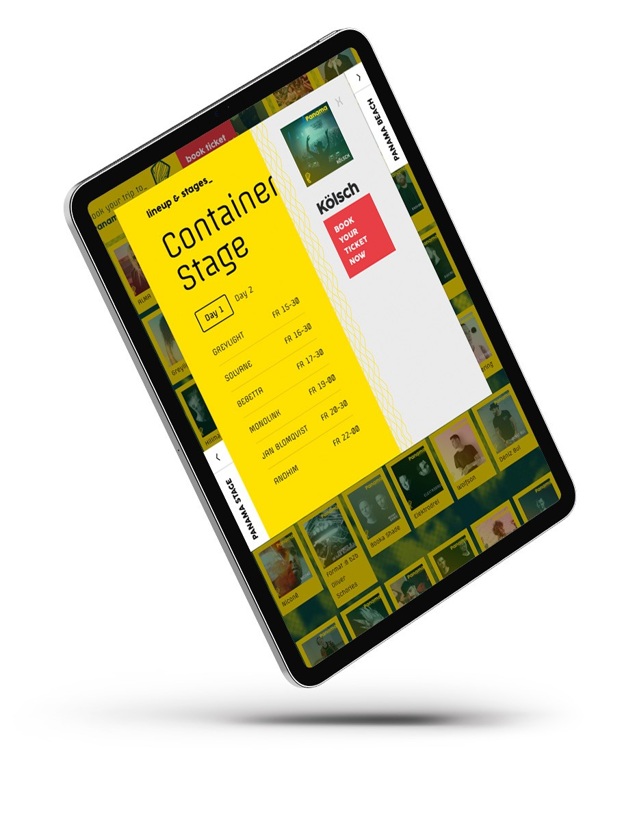 Tablet mit Panama Festival Webseite